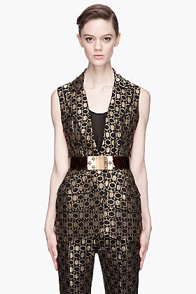 ALEXANDER MCQUEEN Black and gold honeycomb Jacquard peplum Vest