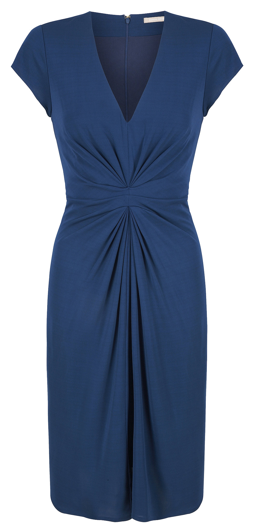 With a similar midsection twist, this jewel-toned blue sheath ($130) is a smart work-ready buy. Photo courtesy of Banana Republic