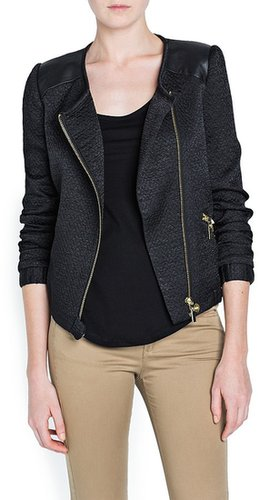 LEATHER APPLIQUéS BIKER JACKET