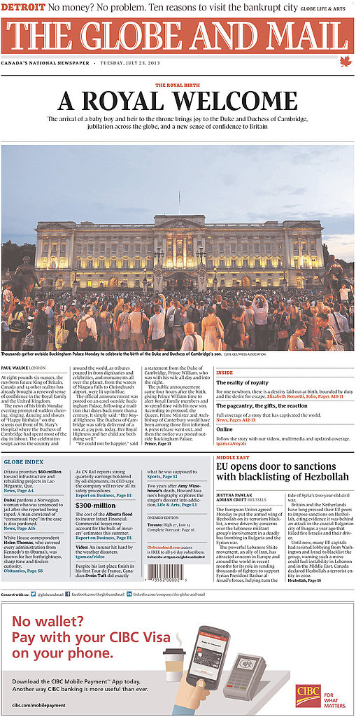 The front page of The Globe and Mail, from Canada, on July 23.