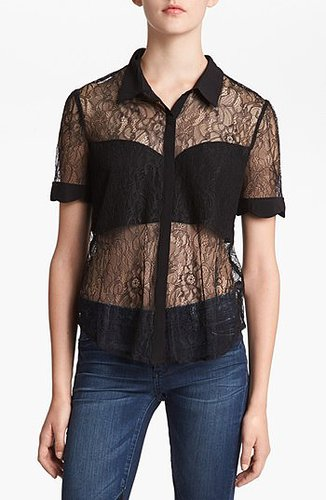 ASTR Scallop Sleeve Lace Top Black X-Small