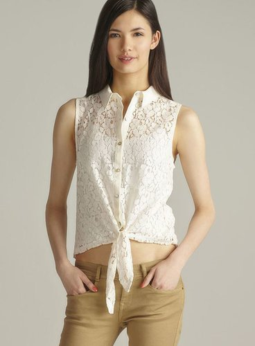 Freebird Lace Button Down Tie Front  Top