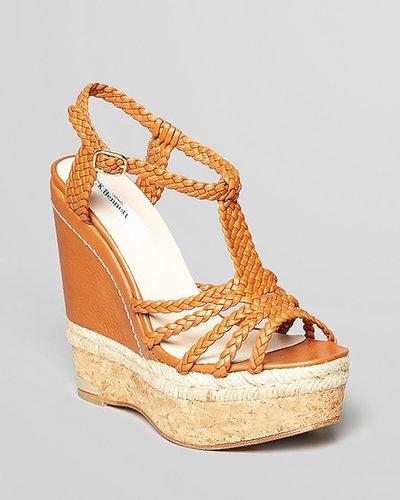 L.K.Bennett Platform Wedge Sandals - Aqua Woven Leather