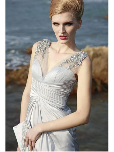 Silver Spaghetti Strap Beaded Bridesmaid Chiffon Prom Dress PD80602