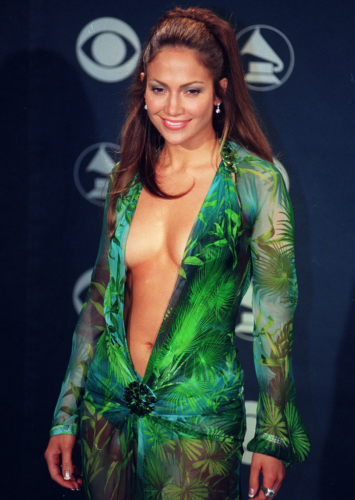 No Jennifer Lopez retrospective would be complete without a mention of her plunging green 2000 Grammys Versace, which she paired with a half-up waterfall hairstyle.