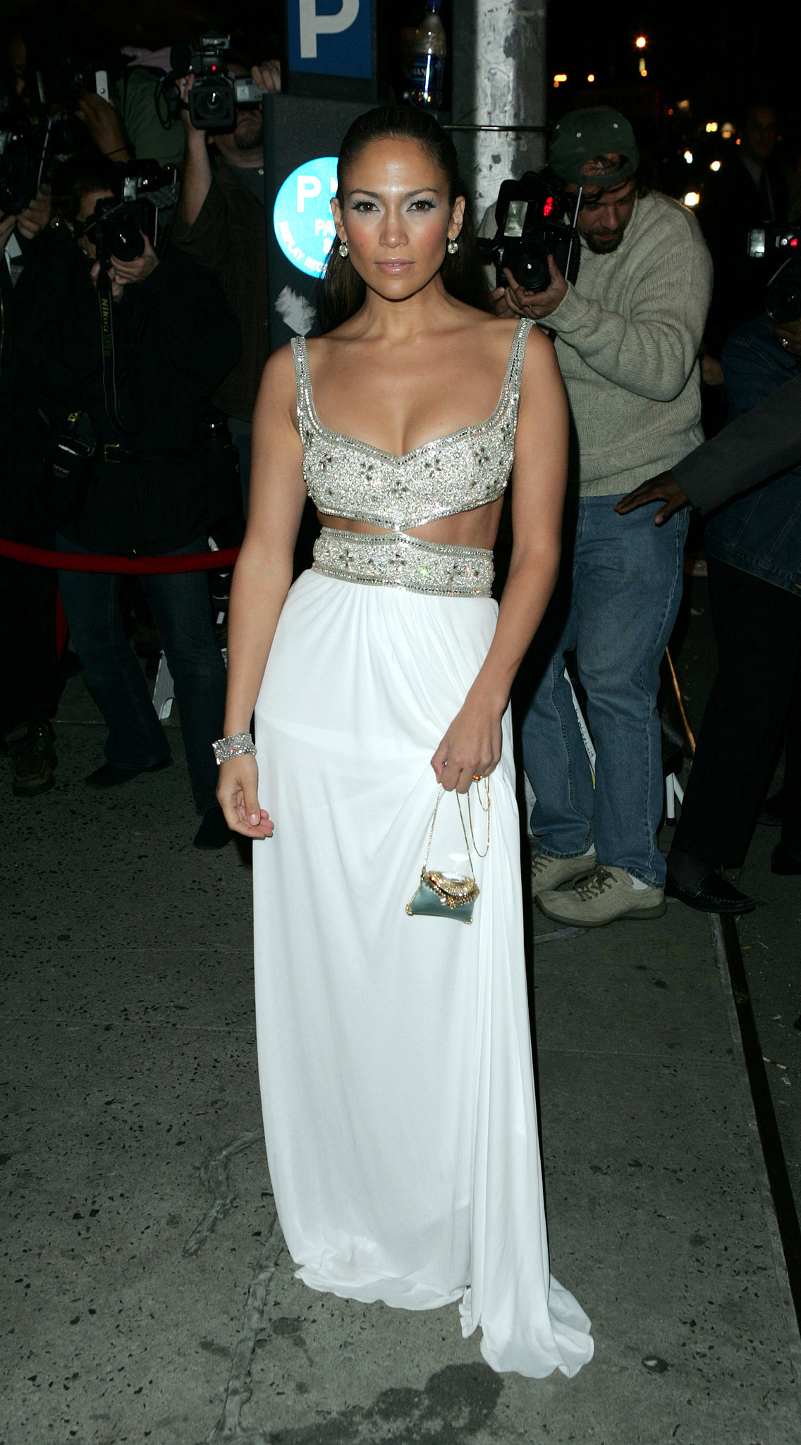 Delicate beading and cutouts adorned this white gown for the Shall We Dance premiere in '04.