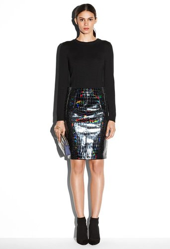 Hologram Leather Edith Pencil Skirt