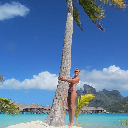 Heidi Klum went topless on the beach in Bora Bora. Source: Instagram user heidiklum