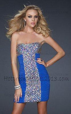 Popular Sequin Short Electric Blue Cocktail Dress