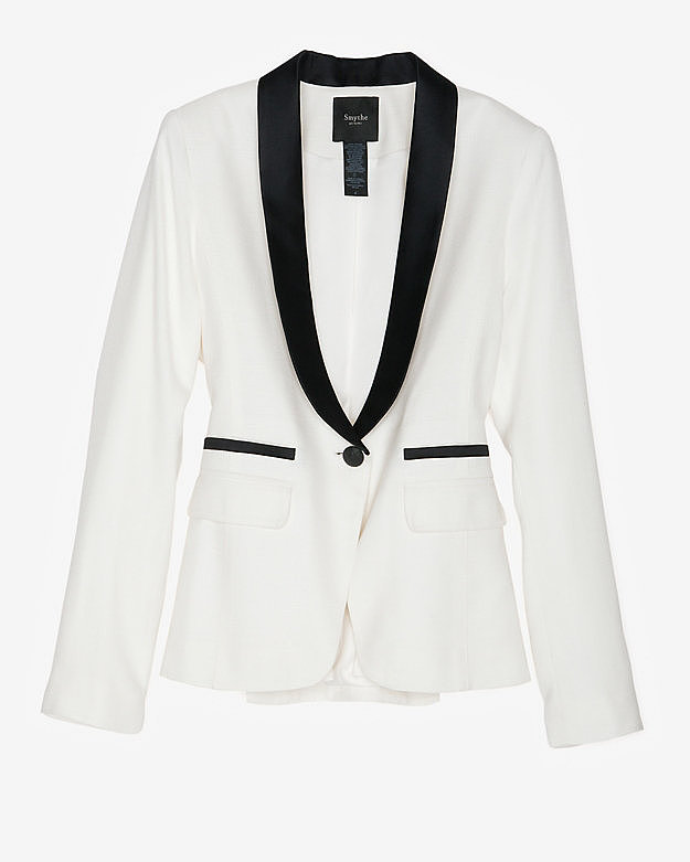 This Smythe Exclusive Satin Lapel Linen Blazer ($249, originally $628) will simplify your going-out look.