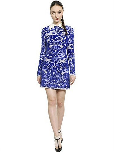 Nappa Lace Collar Jacquard Knit Dress