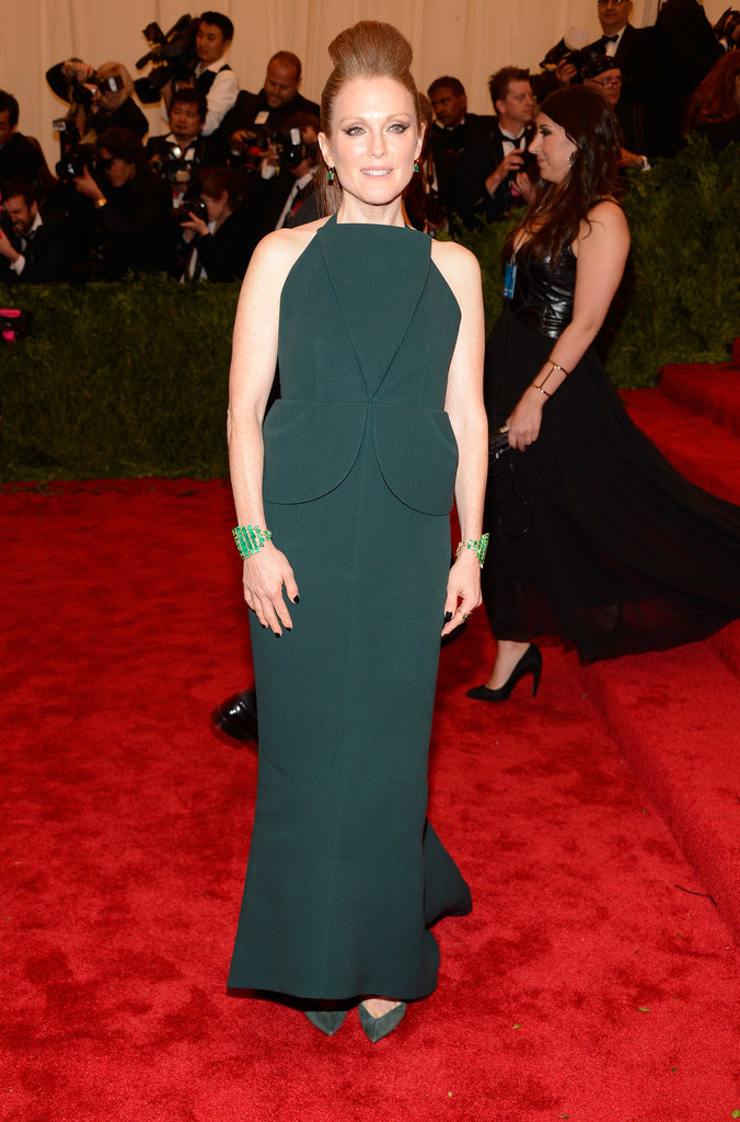 Julianne Moore fused punk with sophisticated in her green origami-style Balenciaga gown at the 2013 Met Gala in NYC.