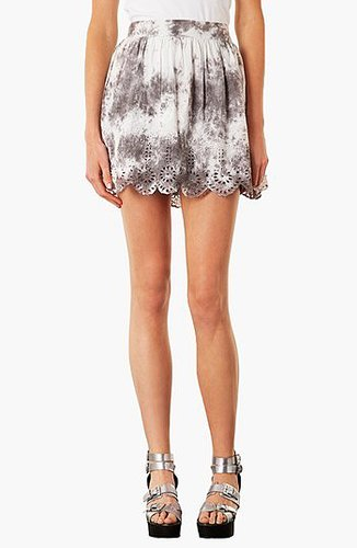 Topshop 'Katie' Scalloped Skirt Grey 10
