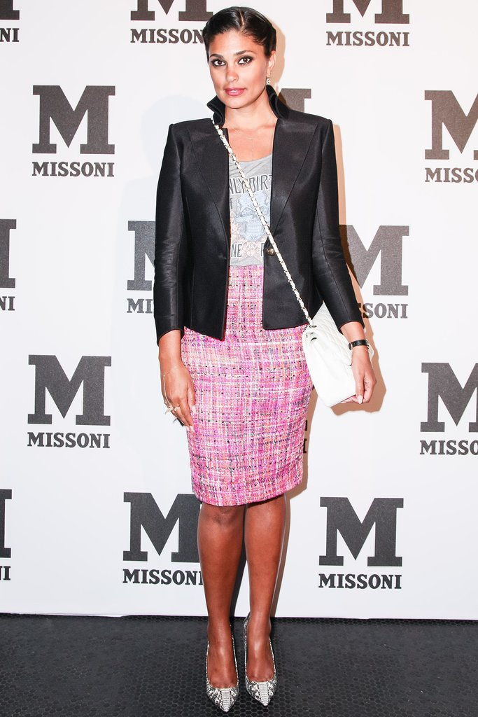 Rachel Roy balanced her pretty design with a tough leather jacket while walking the Missoni black carpet.