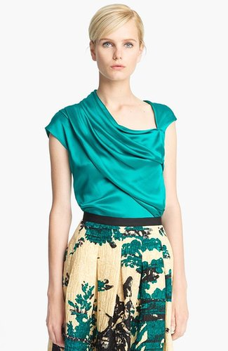 Oscar de la Renta Draped Silk Blouse Teal 12