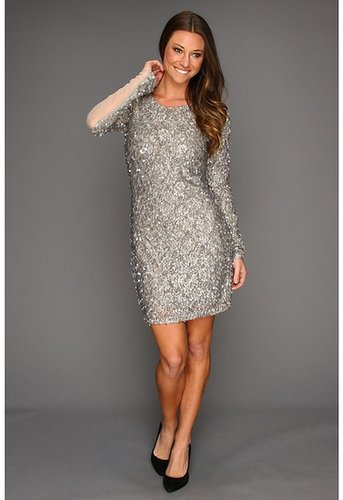 ABS Allen Schwartz - Sequin Lace Cocktail Dress (Silver) - Apparel