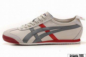 beige grey red asics kanuchi men sneakers