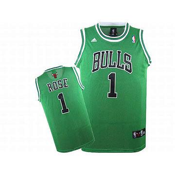 Adidas Rose #1 Green Swingman Bulls Jersey Black White Number