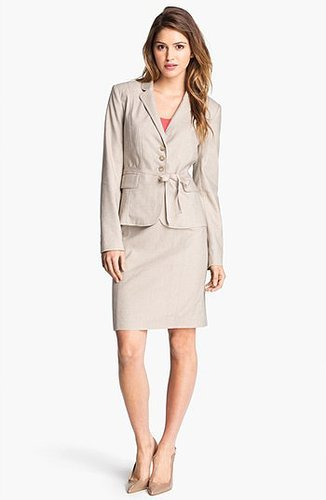 Halogen Herringbone Suit Skirt Khaki Combo 16