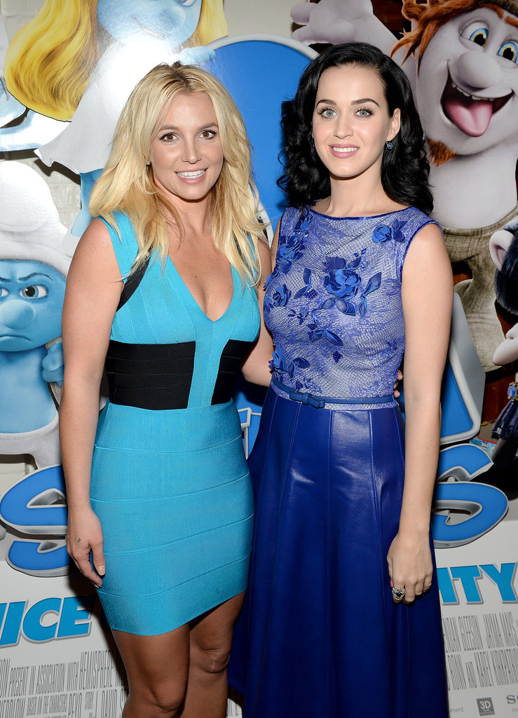 Katy Perry and Britney Spears posed together on the blue carpet at the LA premiere of The Smurfs 2.