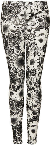 Dark Floral Flock Treggings