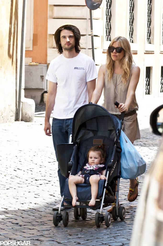 Sienna Miller and Tom Sturridge pushed Marlowe in her stroller around Rome.