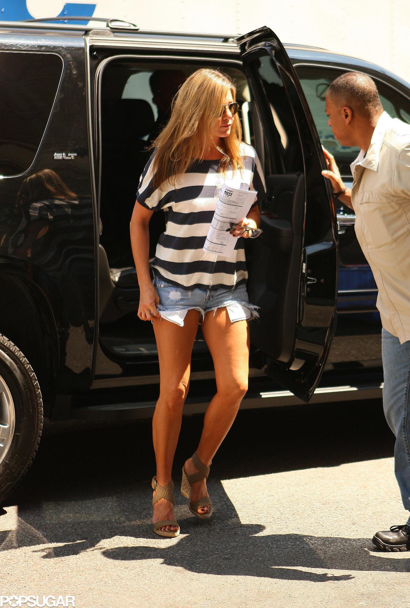 On July 29, Jennifer Aniston wore jean shorts.