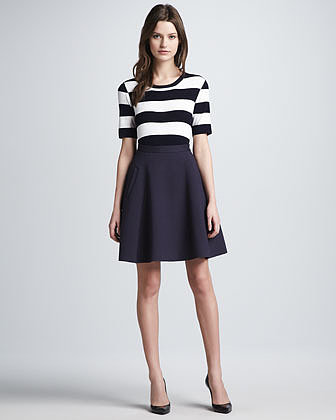Theory Dasher Striped Ponte Top