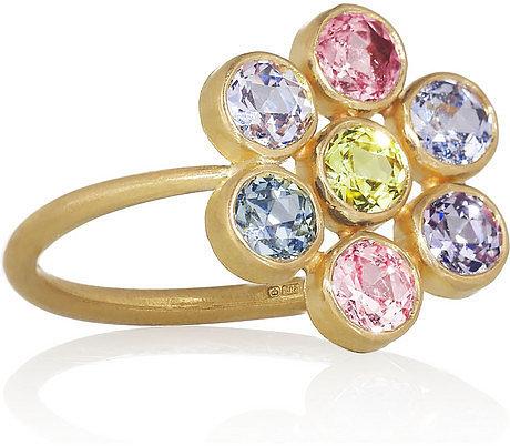 Marie-Hélène de Taillac Tiny Marguerite 22-karat gold sapphire ring