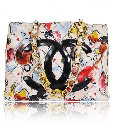 very good (VG) Vintage Chanel PVC Multi-Color Shopping Tote Bag