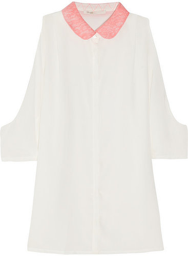 Maje Lace-trimmed cutout silk blouse