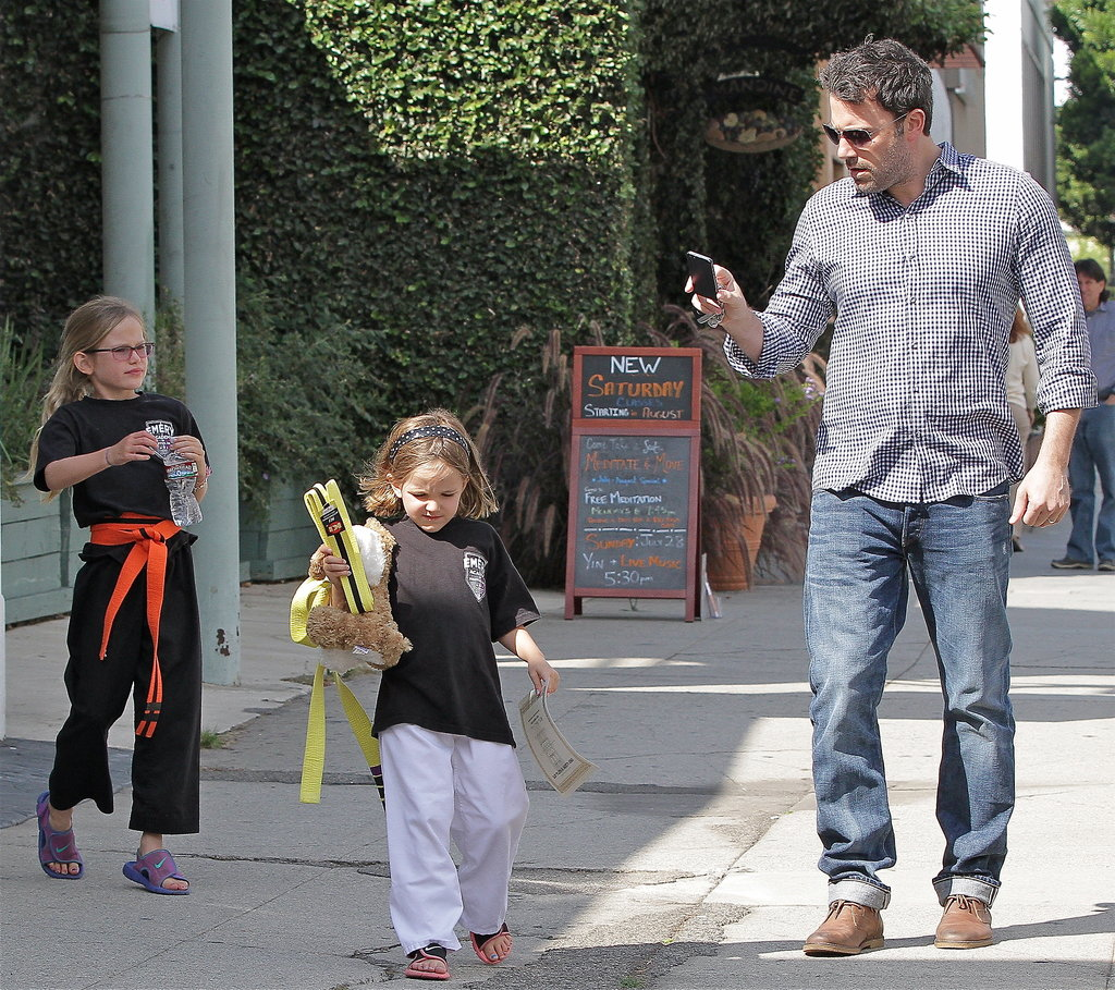 Ben Affleck went to karate in LA with his daughters, Violet and Seraphina.