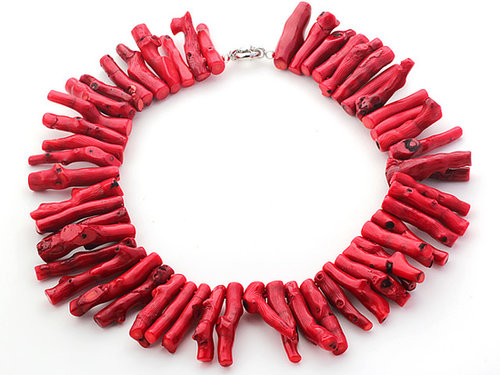 8*38mm Red Coral Branch Shape Necklace with Moonlight Clasp