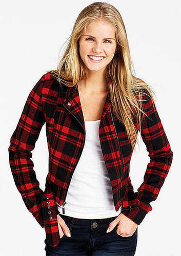 Moto Plaid Wool Coat