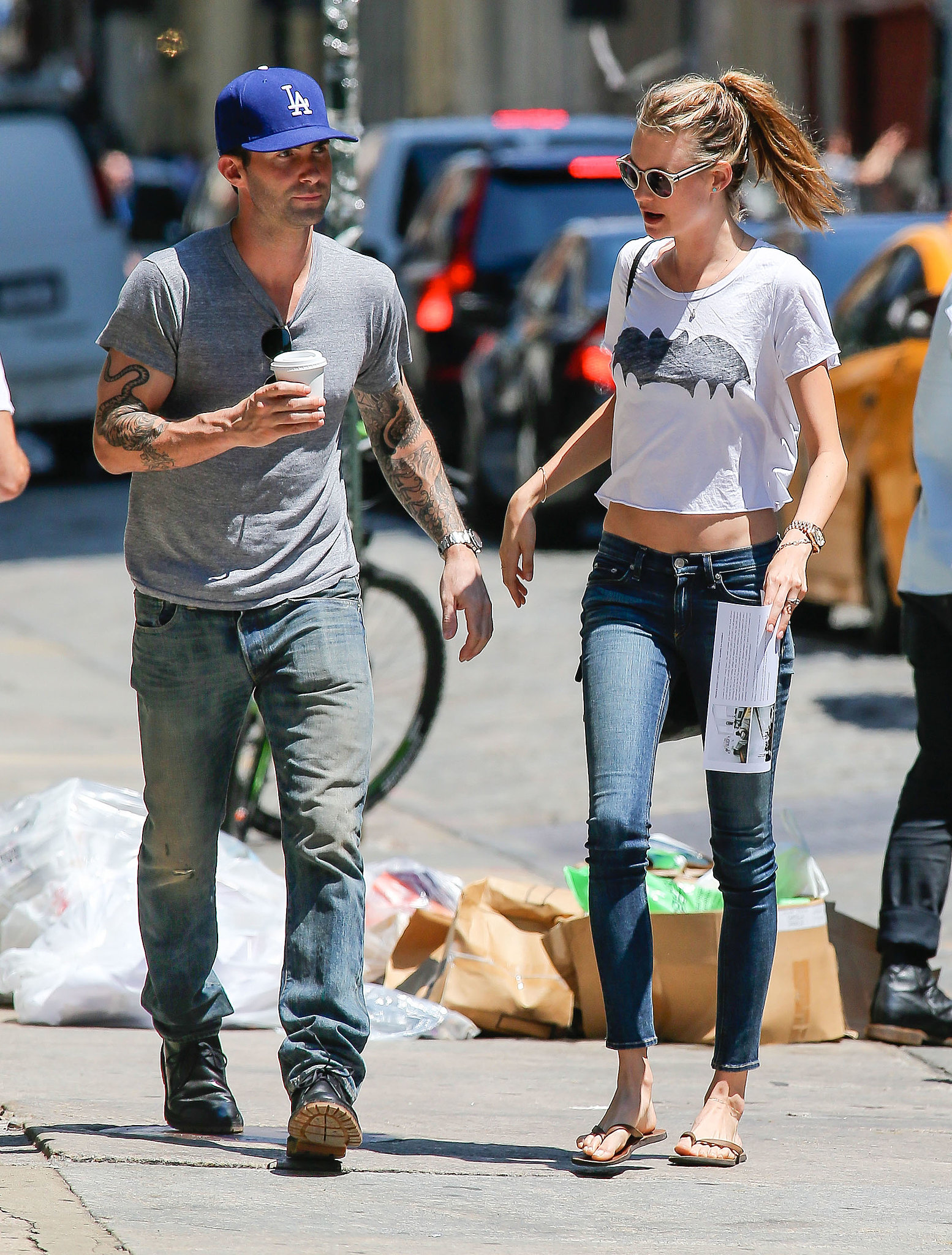 Behati Prinsloo and Adam Levine walked around NYC.