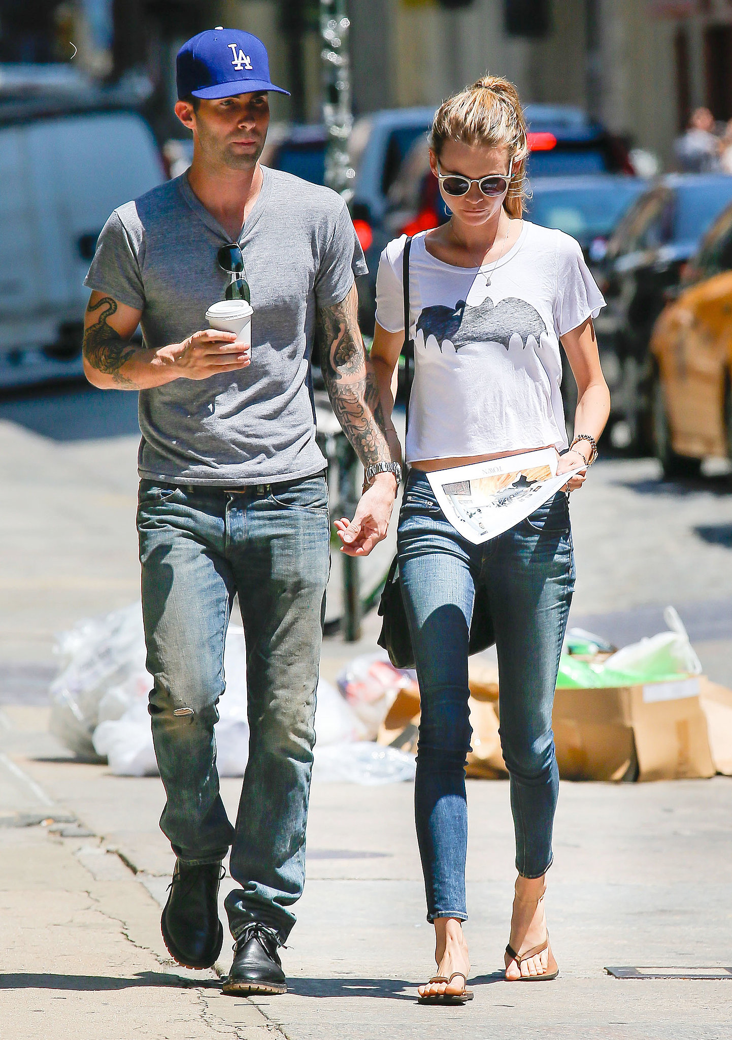 Adam Levine and Behati Prinsloo held hands.