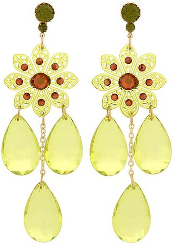 Tarina Tarantino - Flower Chandelier Earrings (Prickly Pear) - Jewelry