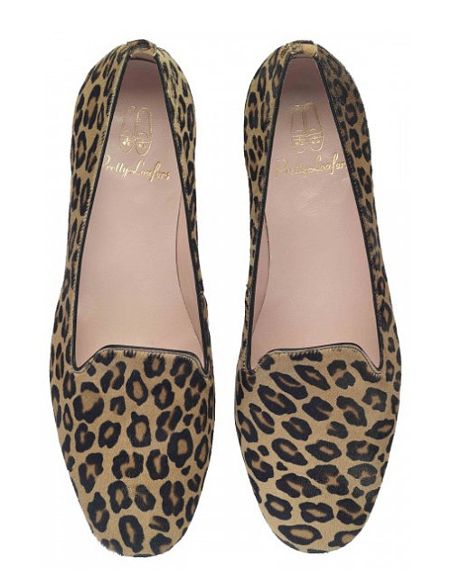 Pretty Ballerinas, the brand that has been making ballet slippers for a near century (the shoes have been made in the same Mediterranean village by the same family since 1918!), has turned its attention to another flat footwear option: the smoking slipper. These Pretty Loafers leopard pony-hair flats ($199) are just as comfortable, but look a bit more sophisticated.  — KS