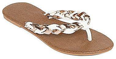 Metallic Braided Thong Sandals