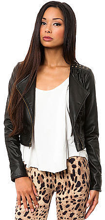 Jack BB Dakota The Aleeza Studded PU Moto Jacket in Black