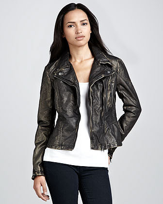 Free People Metallic Vegan-Leather Motorcycle Jacket