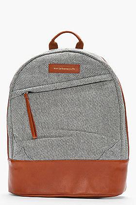 WANT LES ESSENTIELS DE LA VIE Black & White Leather trimmed Kastrup Backpack