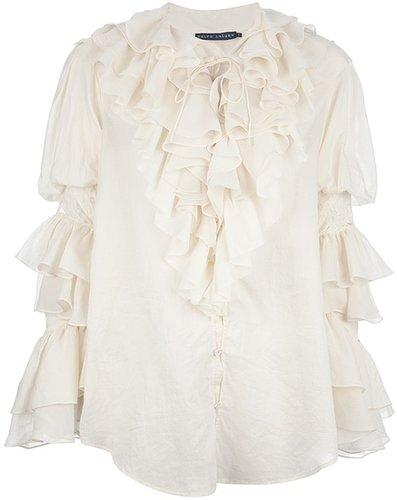 Ralph Lauren Blue ruffle blouse