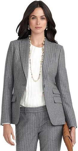 One-Button Pinstripe Jacket