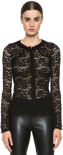 Etoile Isabel Marant Yoana Stretch Lace Top in Black