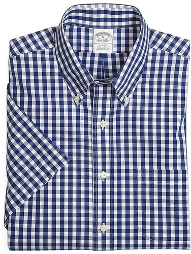 Supima® Cotton Non-Iron Slim Fit Short-Sleeve Gingham Sport Shirt