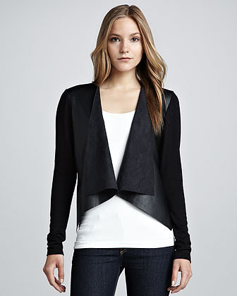 Velvet Faux-Leather Ponte Jacket, Black