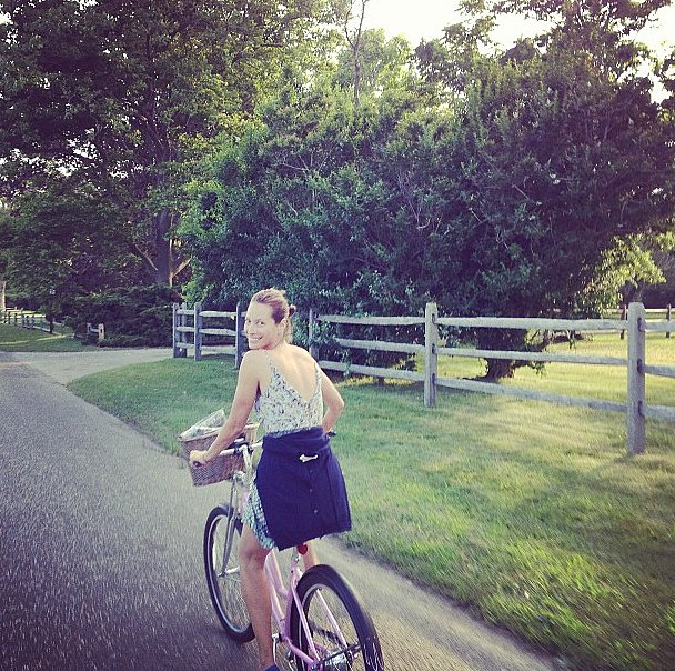 During a bike ride through the countryside, Christy Turlington was snapped with a huge smile on her face.