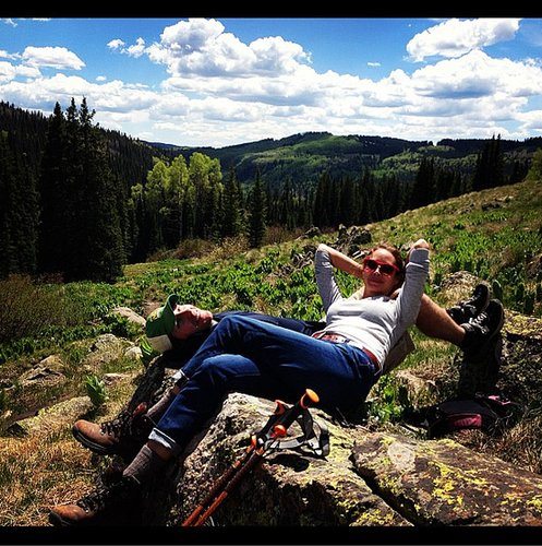 Christy Turlington and husband Edward Burns stopped for a break while hiking.