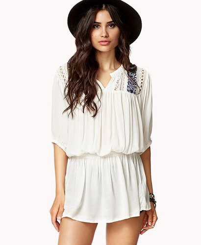 FOREVER 21 Crocheted Peasant Tunic